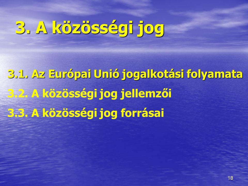 18 3.A közösségi jog 3.1. Az Európai Unió jogalkotási folyamata 3.2.