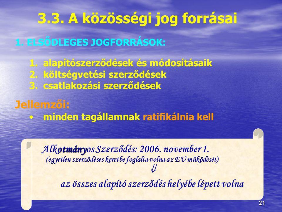21 3.3.A közösségi jog forrásai 1.