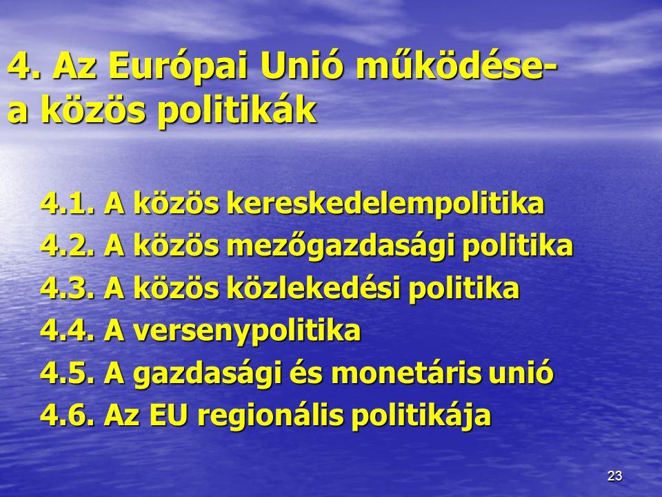 23 4.Az Európai Unió működése- a közös politikák 4.1.