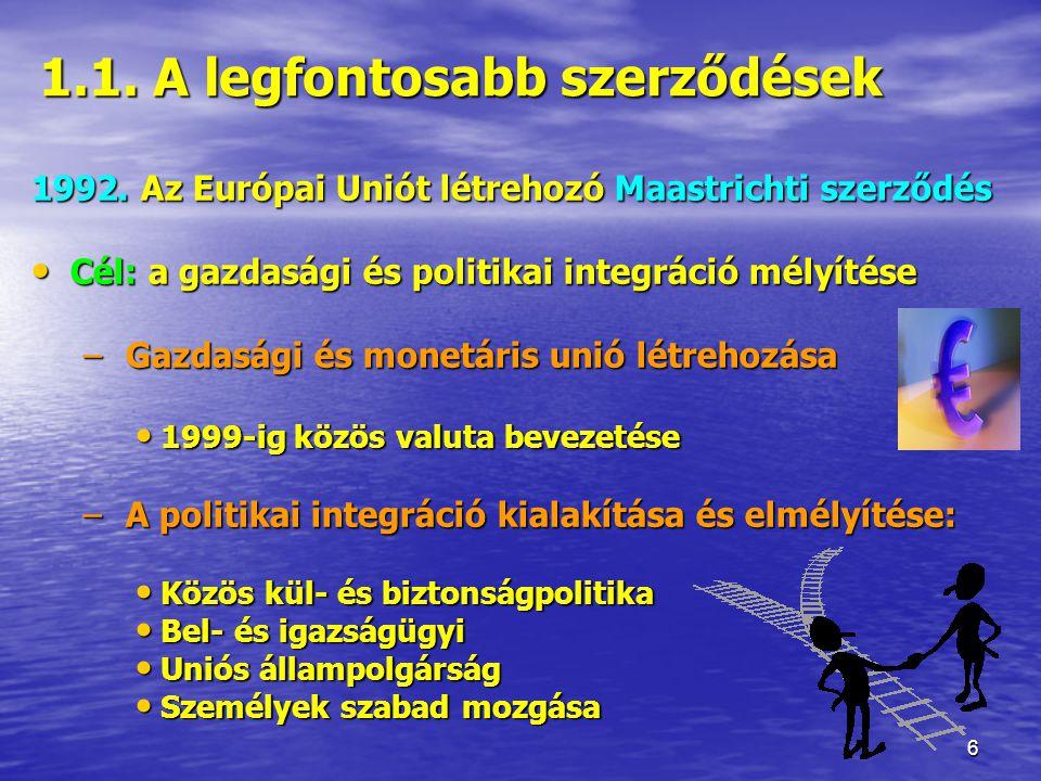 17 2.5 Az Európai Közösségek Bírósága Biztosítja a közösségi jog egységes értelmezését, alkalmazását és védelmét, továbbá az EU intézményeinek jogszerű működését.