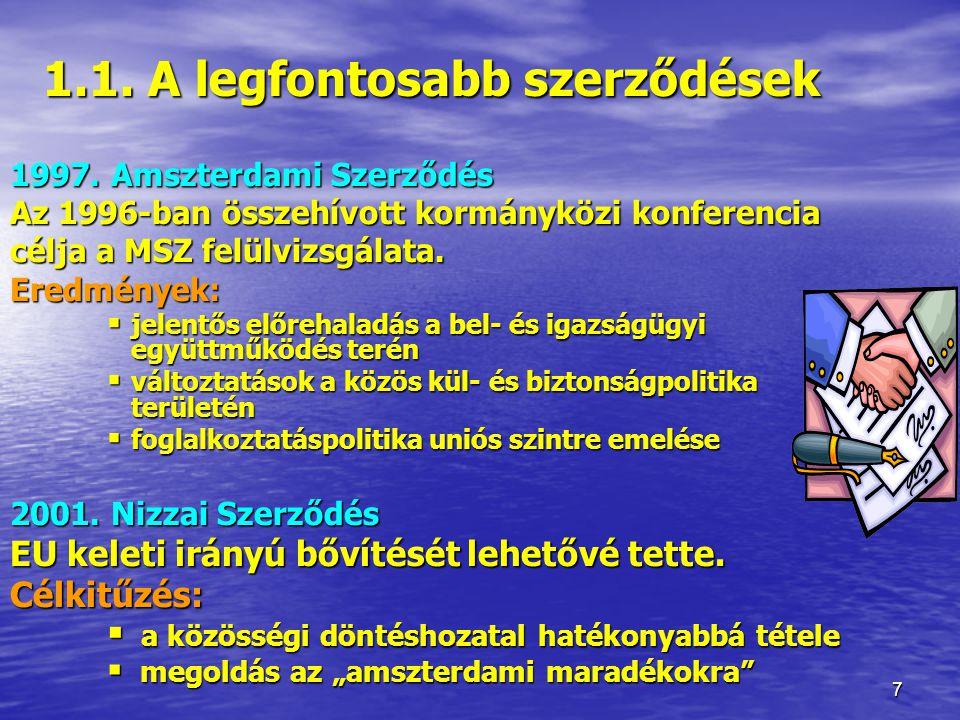 7 1.1.A legfontosabb szerződések 1.1. A legfontosabb szerződések 1997.