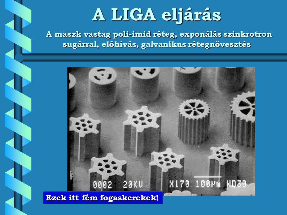 A LIGA eljárás A maszk vastag poli-imid réteg, exponálás szinkrotron sugárral, elõhívás, galvanikus rétegnövesztés Ezek itt fém fogaskerekek!