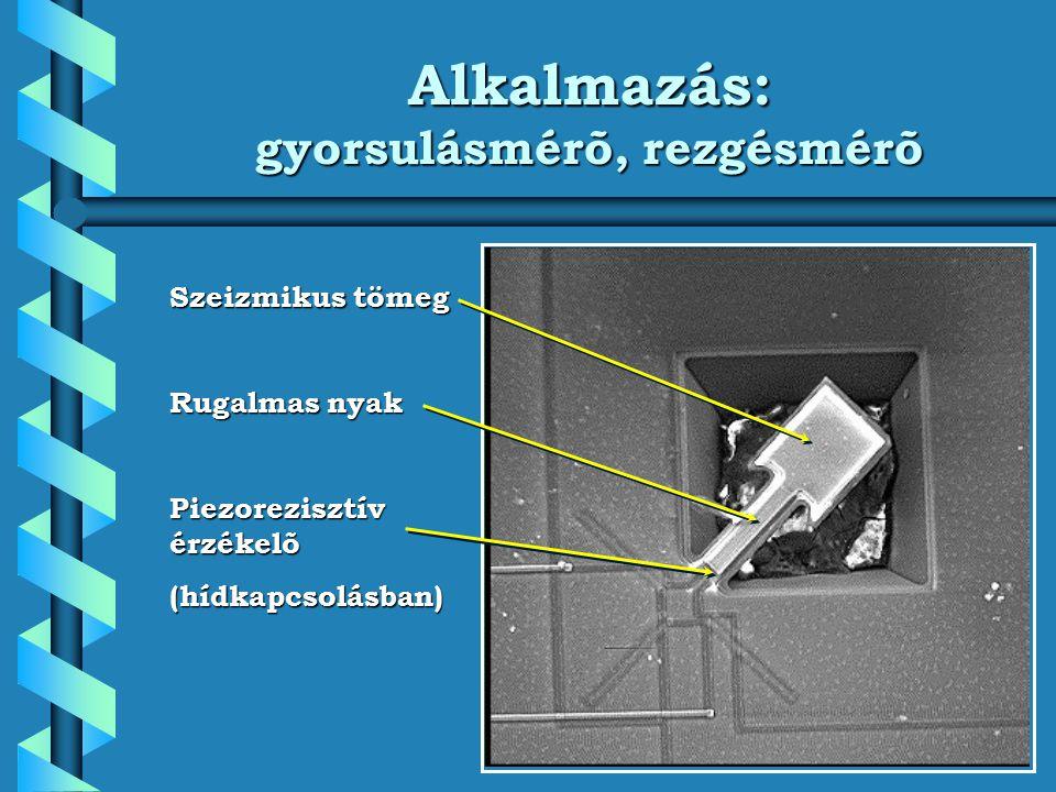 Alkalmazás: gyorsulásmérõ, rezgésmérõ Szeizmikus tömeg Rugalmas nyak Piezorezisztív érzékelõ (hídkapcsolásban)