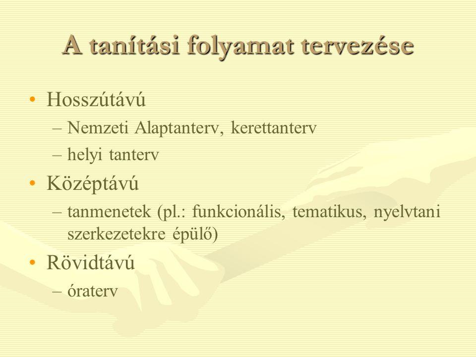 A tanítási folyamat tervezése Hosszútávú – –Nemzeti Alaptanterv, kerettanterv – –helyi tanterv Középtávú – –tanmenetek (pl.: funkcionális, tematikus,