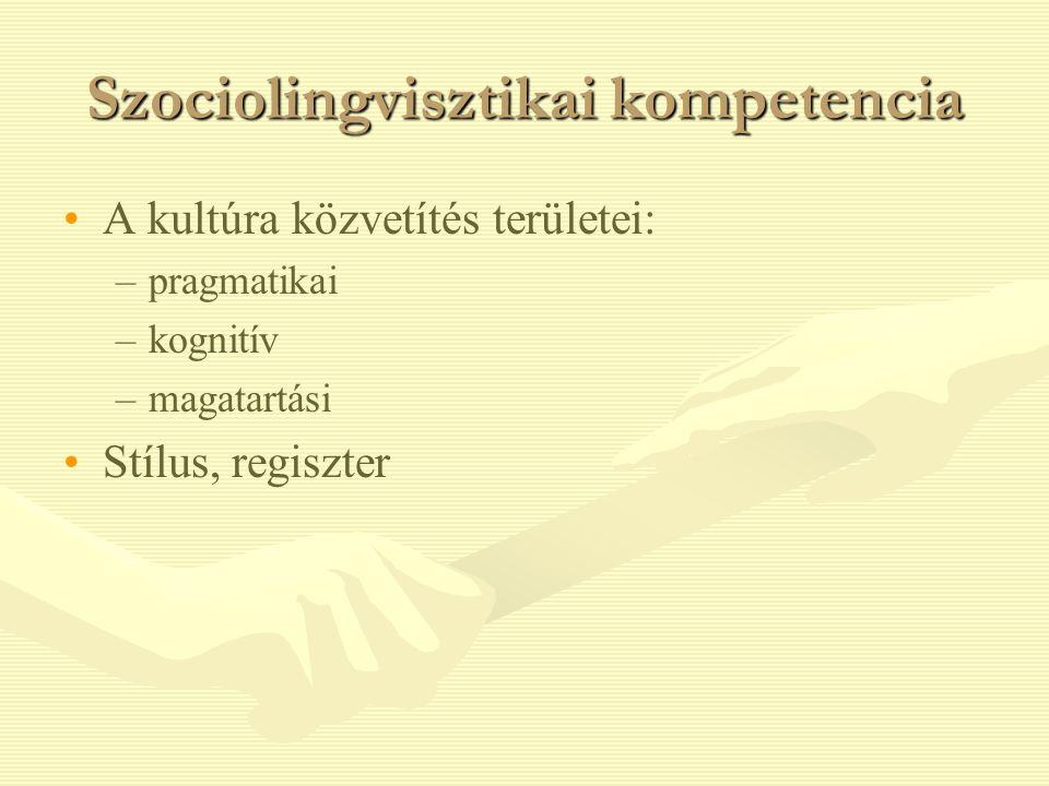 Szociolingvisztikai kompetencia A kultúra közvetítés területei: – –pragmatikai – –kognitív – –magatartási Stílus, regiszter