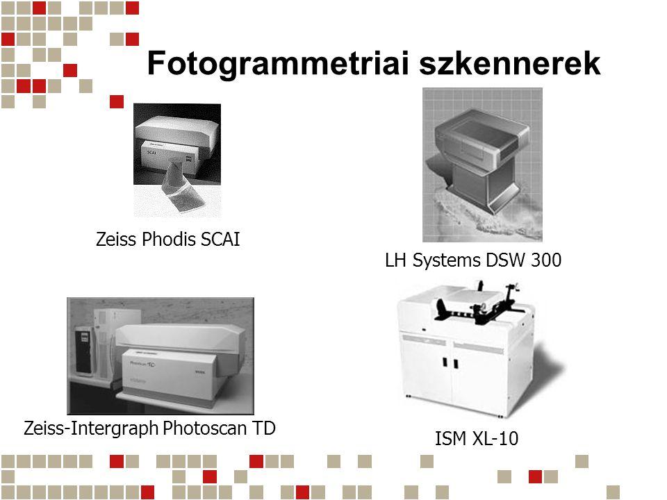Fotogrammetriai szkennerek adatai GyártóTípusÉrzékelőFormátum [mm] Minimális pixelméret [μm] ([dpi]) Belső színmélység [bit] Geometriai pontosság [μm] Szkennelési sebesség [MB/s] Kiszolgáló számítógép DBA Systems DFS4 × 5000 lineáris CCD; 2000 × 2000 3 × 8000 lineáris CCD 240 × 2404 (6350) 1214Sun, GPIB 2 ISM 3 DiSC320 × 32010 (2540) 1052.5PC ISM 3 XL-103 × 8000 lineáris CCD 254 × 25410 (2540) 1030.73Dual Pentium PC LenzarLenzpro 2000 Multimedia 2000 × 2000 tömbös CCD 4 559 × 889 5 406 × 610 6 3 (8467) 1031.3Sun, Silicon Graphics 2 LH SystemsDSW 3002029 × 2044 tömbös CCD 265 × 2654 (6350) 1021.7Sun Vexcel Imaging VX 4000 HT 1024 × 1024 tömbös CCD 508 × 2547.5 (3387) 840.35PC Wehrli and Assoc.