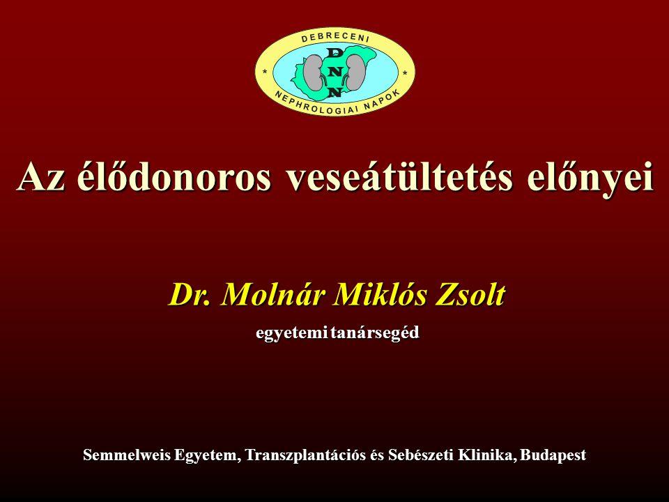 Az élődonoros veseátültetés előnyei Dr.