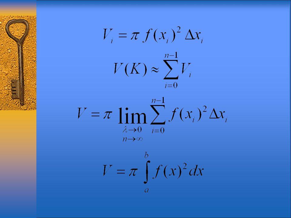 Tétel : Ha az f (x) függvény az [a,b] intervallumon értelmezett és folytonos és ha f (x)  0 minden x [a,b] értékre, akkor annak a K forgástestnek a térfogata, amely az y = f (x) görbe, az [a,b] intervallum, az x = a és x = b egyenes által határolt görbevonalú trapéznak az x – tengely körüli forgásával keletkezik, egyenlő