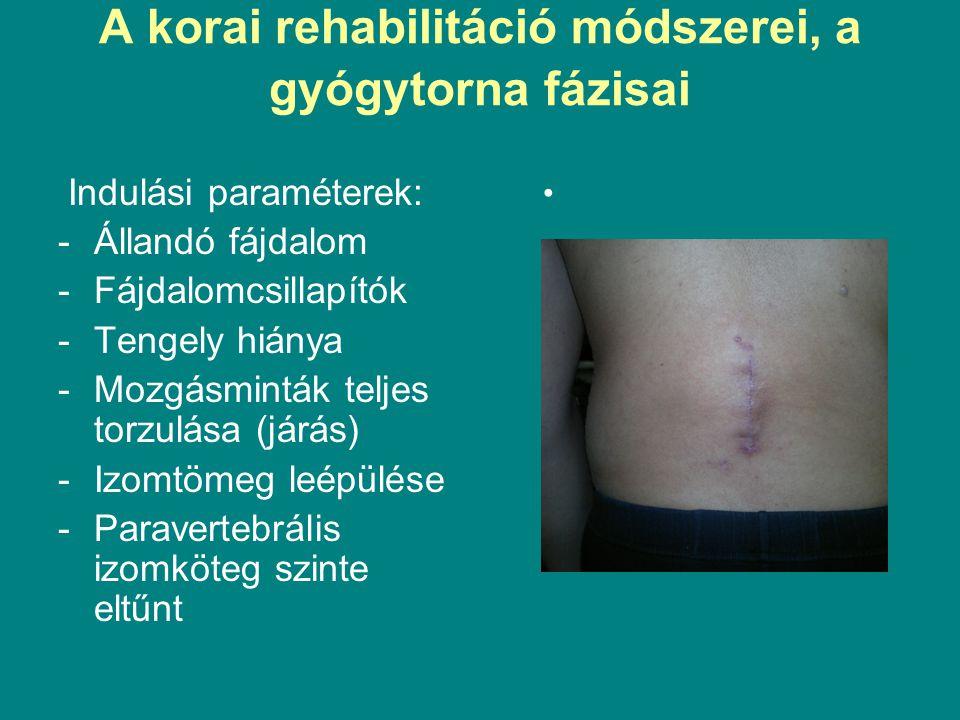 A korai rehabilitáció módszerei, a gyógytorna fázisai Indulási paraméterek: -Állandó fájdalom -Fájdalomcsillapítók -Tengely hiánya -Mozgásminták teljes torzulása (járás) -Izomtömeg leépülése -Paravertebrális izomköteg szinte eltűnt
