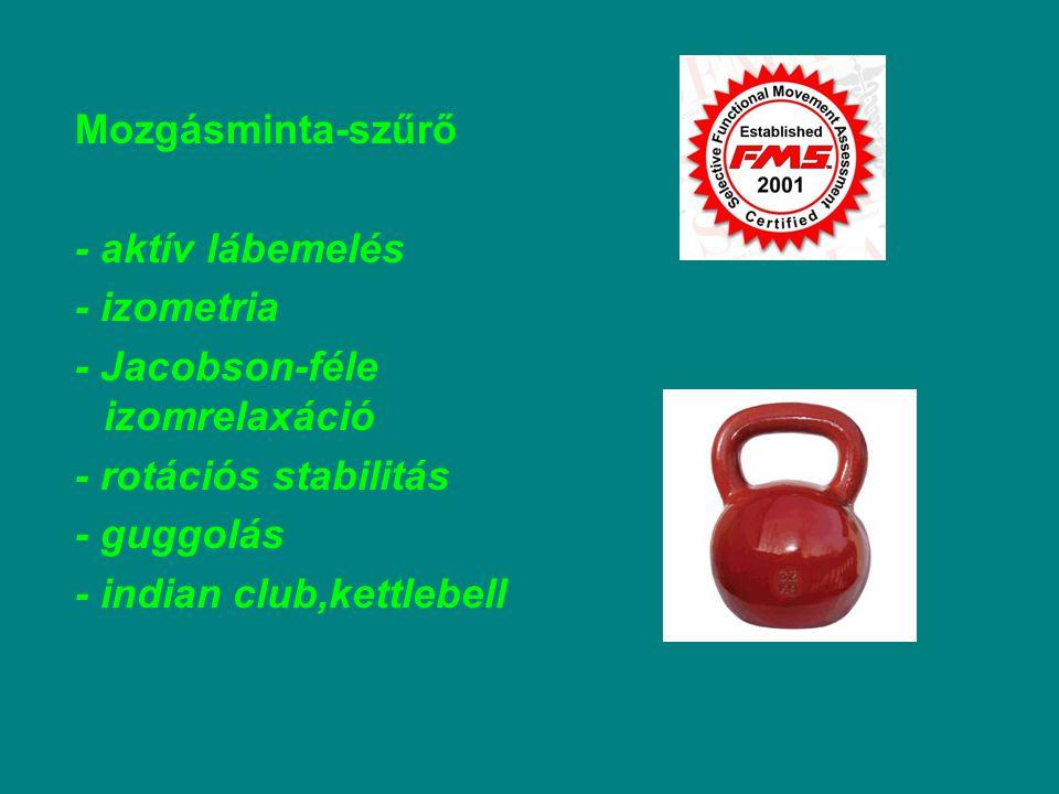 Mozgásminta-szűrő - aktív lábemelés - izometria - Jacobson-féle izomrelaxáció - rotációs stabilitás - guggolás - indian club,kettlebell