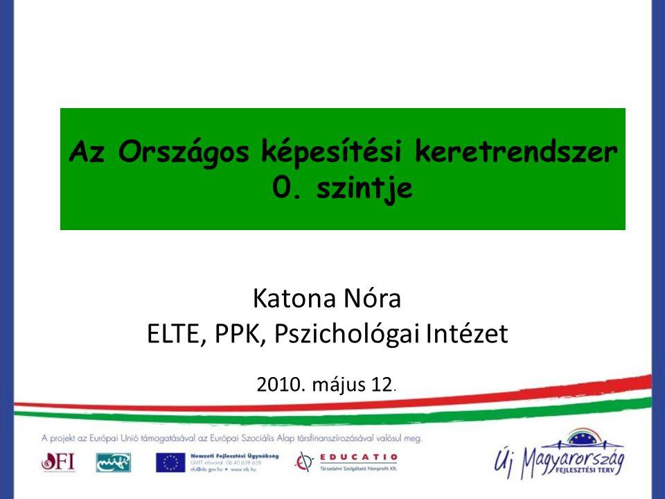 Az Országos képesítési keretrendszer 0. szintje Katona Nóra ELTE, PPK, Pszichológai Intézet 2010. május 12.