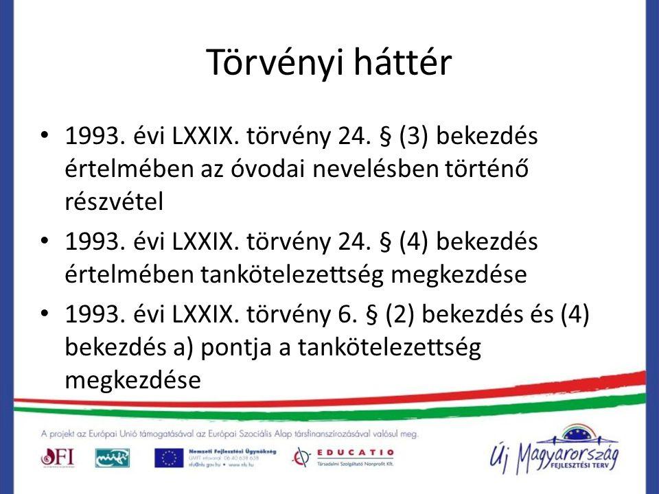 Törvényi háttér 1993. évi LXXIX. törvény 24. § (3) bekezdés értelmében az óvodai nevelésben történő részvétel 1993. évi LXXIX. törvény 24. § (4) bekez