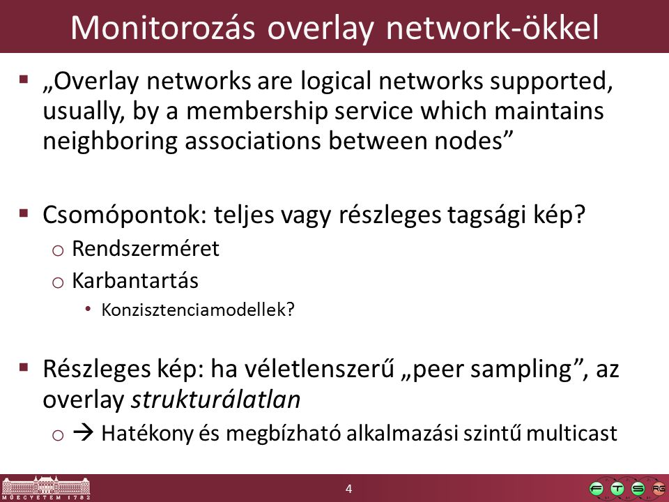 "4 Monitorozás overlay network-ökkel  ""Overlay networks are logical networks supported, usually, by a membership service which maintains neighboring associations between nodes  Csomópontok: teljes vagy részleges tagsági kép."