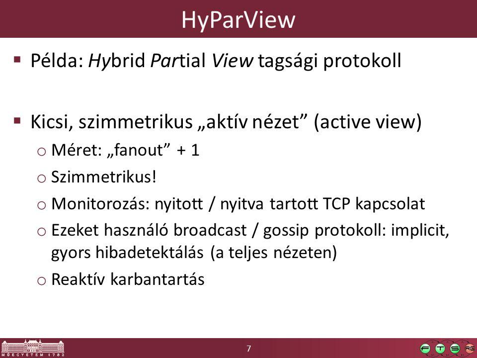 """7 HyParView  Példa: Hybrid Partial View tagsági protokoll  Kicsi, szimmetrikus """"aktív nézet (active view) o Méret: """"fanout + 1 o Szimmetrikus."""