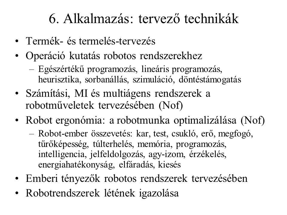 6. Alkalmazás: tervező technikák Termék- és termelés-tervezés Operáció kutatás robotos rendszerekhez –Egészértékű programozás, lineáris programozás, h