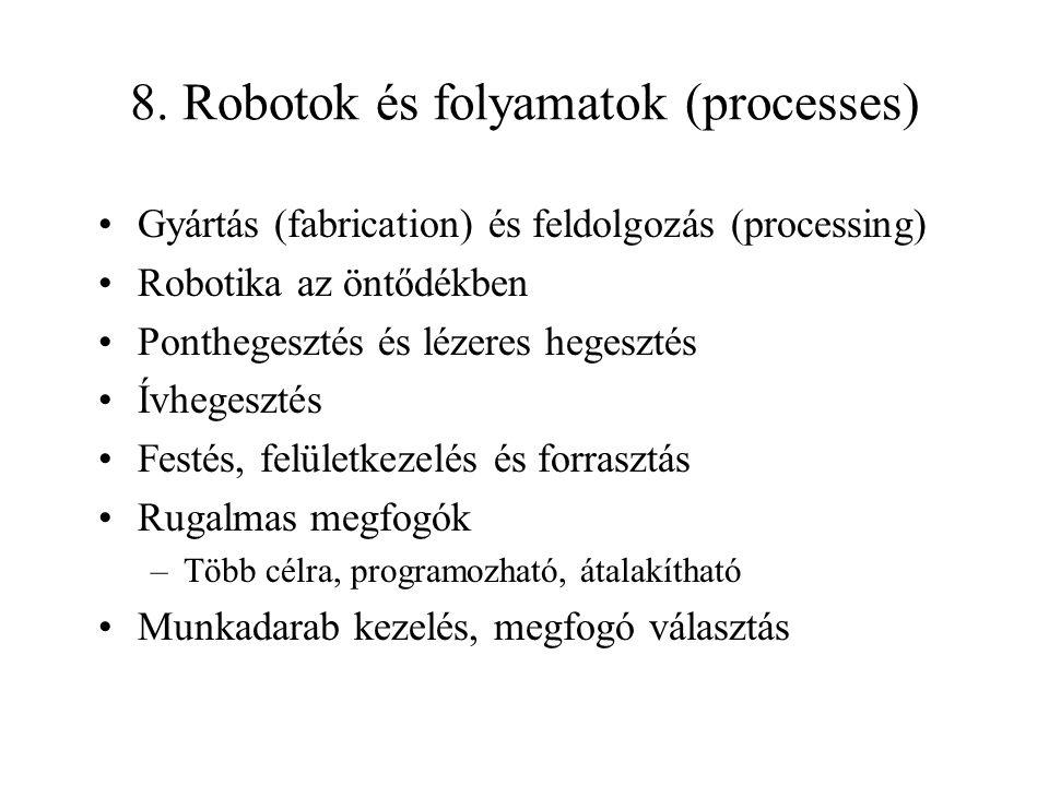 8. Robotok és folyamatok (processes) Gyártás (fabrication) és feldolgozás (processing) Robotika az öntődékben Ponthegesztés és lézeres hegesztés Ívheg