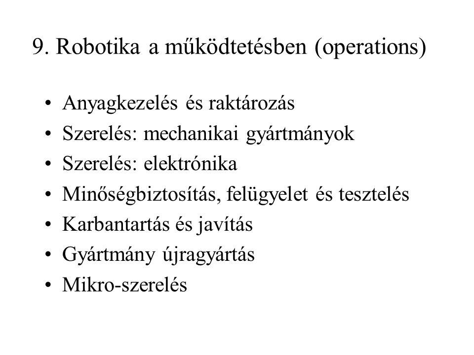 9. Robotika a működtetésben (operations) Anyagkezelés és raktározás Szerelés: mechanikai gyártmányok Szerelés: elektrónika Minőségbiztosítás, felügyel