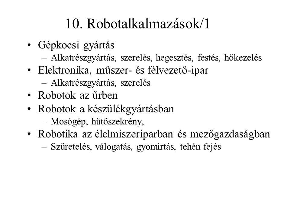 10. Robotalkalmazások/1 Gépkocsi gyártás –Alkatrészgyártás, szerelés, hegesztés, festés, hőkezelés Elektronika, műszer- és félvezető-ipar –Alkatrészgy