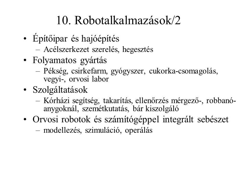 10. Robotalkalmazások/2 Építőipar és hajóépítés –Acélszerkezet szerelés, hegesztés Folyamatos gyártás –Pékség, csirkefarm, gyógyszer, cukorka-csomagol