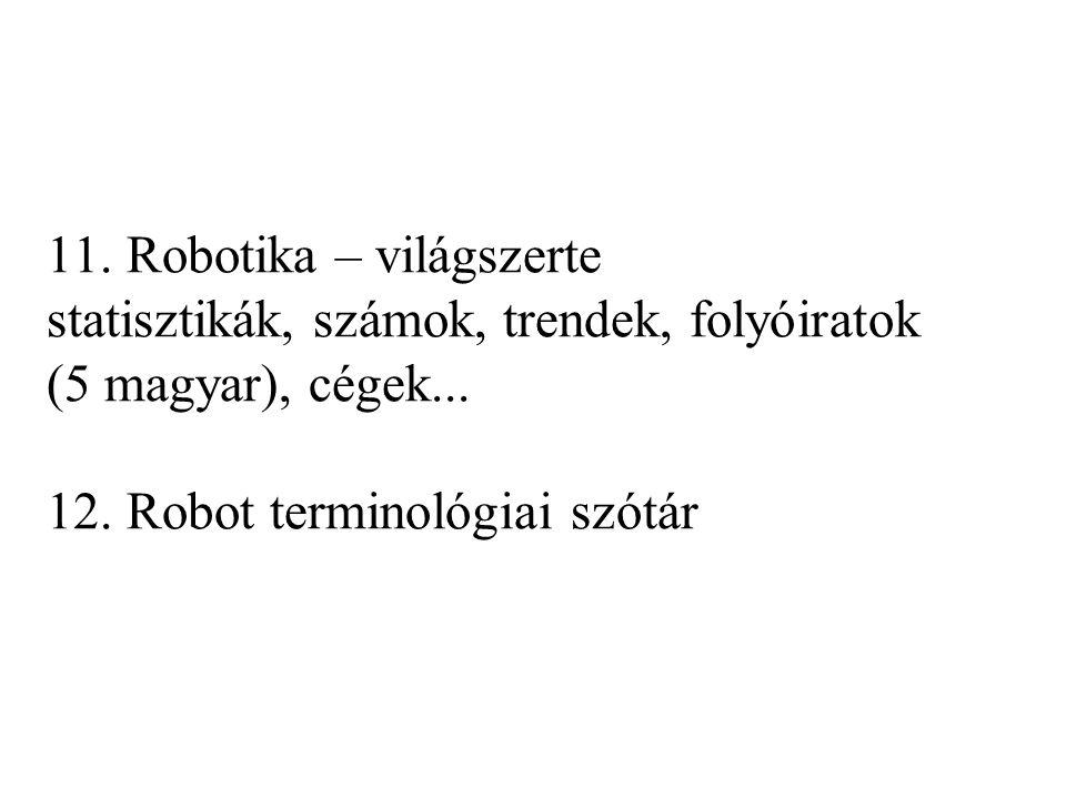11. Robotika – világszerte statisztikák, számok, trendek, folyóiratok (5 magyar), cégek...