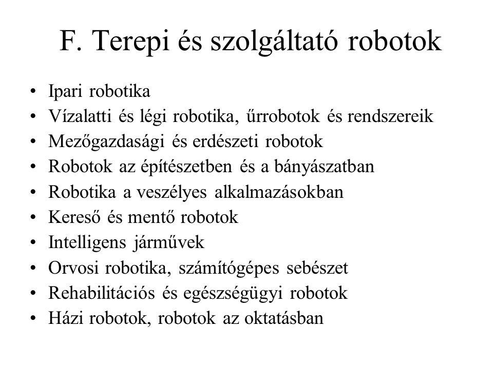 F. Terepi és szolgáltató robotok Ipari robotika Vízalatti és légi robotika, űrrobotok és rendszereik Mezőgazdasági és erdészeti robotok Robotok az épí