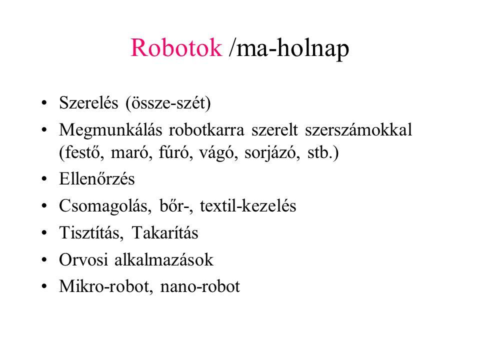 Robotok /ma-holnap Szerelés (össze-szét) Megmunkálás robotkarra szerelt szerszámokkal (festő, maró, fúró, vágó, sorjázó, stb.) Ellenőrzés Csomagolás, bőr-, textil-kezelés Tisztítás, Takarítás Orvosi alkalmazások Mikro-robot, nano-robot