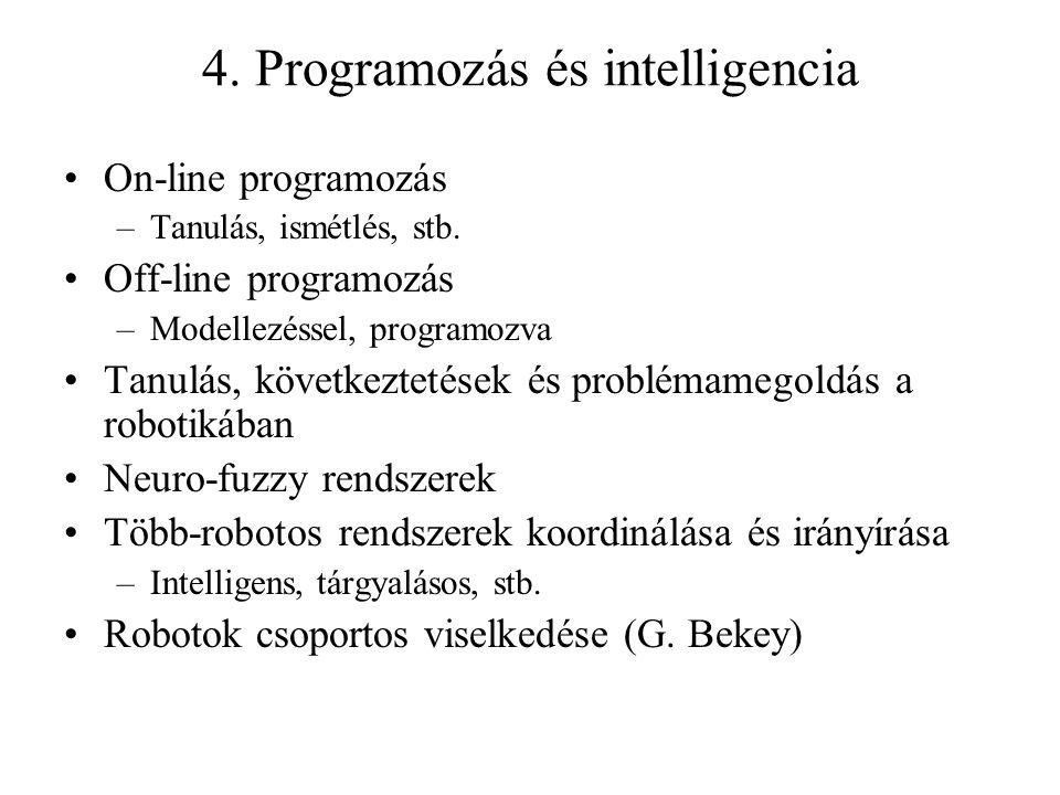 4. Programozás és intelligencia On-line programozás –Tanulás, ismétlés, stb.
