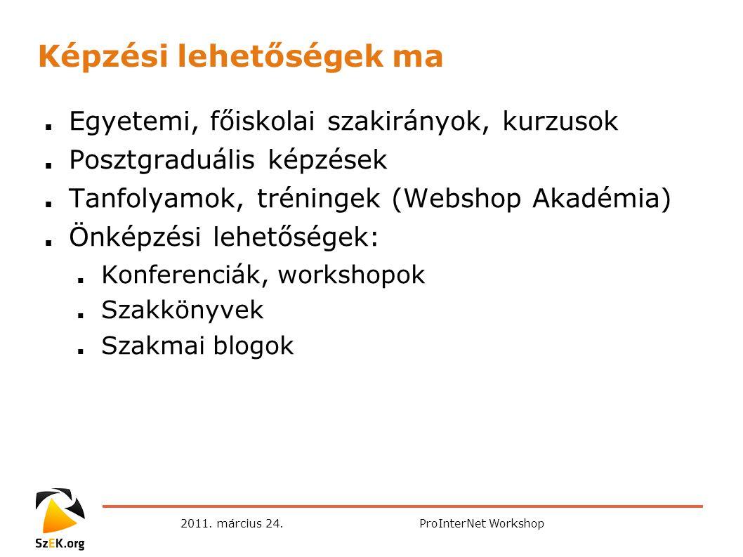 2011. március 24.ProInterNet Workshop Képzési lehetőségek ma ■ Egyetemi, főiskolai szakirányok, kurzusok ■ Posztgraduális képzések ■ Tanfolyamok, trén