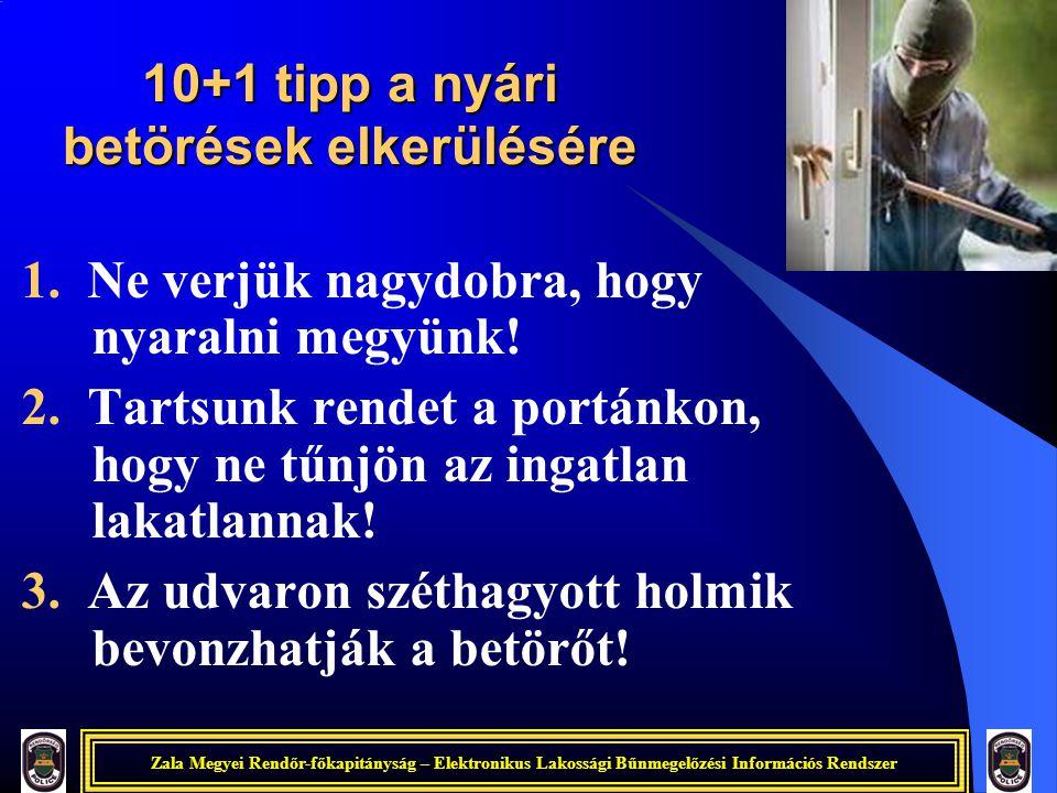 Zala Megyei Rendőr-főkapitányság – Elektronikus Lakossági Bűnmegelőzési Információs Rendszer 10+1 tipp a nyári betörések elkerülésére 1. Ne verjük nag