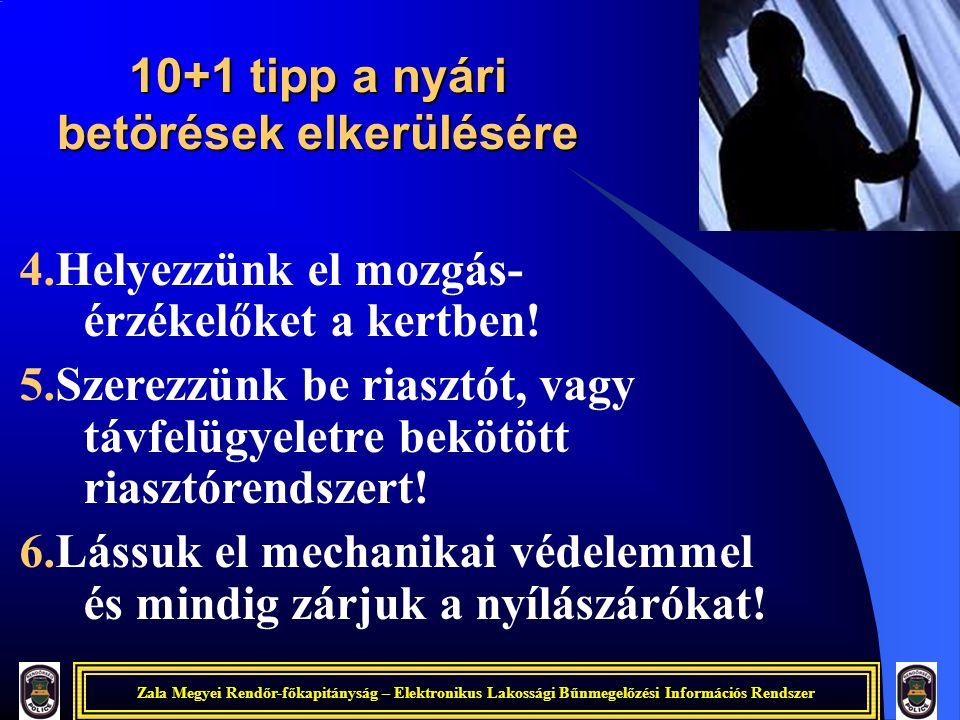 Zala Megyei Rendőr-főkapitányság – Elektronikus Lakossági Bűnmegelőzési Információs Rendszer 10+1 tipp a nyári betörések elkerülésére 4.Helyezzünk el