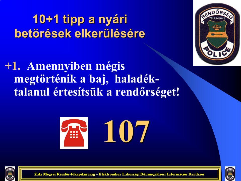 Zala Megyei Rendőr-főkapitányság – Elektronikus Lakossági Bűnmegelőzési Információs Rendszer +1. Amennyiben mégis megtörténik a baj, haladék- talanul