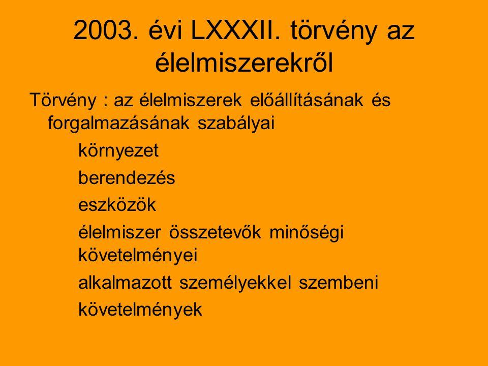 2003. évi LXXXII. törvény az élelmiszerekről Törvény : az élelmiszerek előállításának és forgalmazásának szabályai környezet berendezés eszközök élelm
