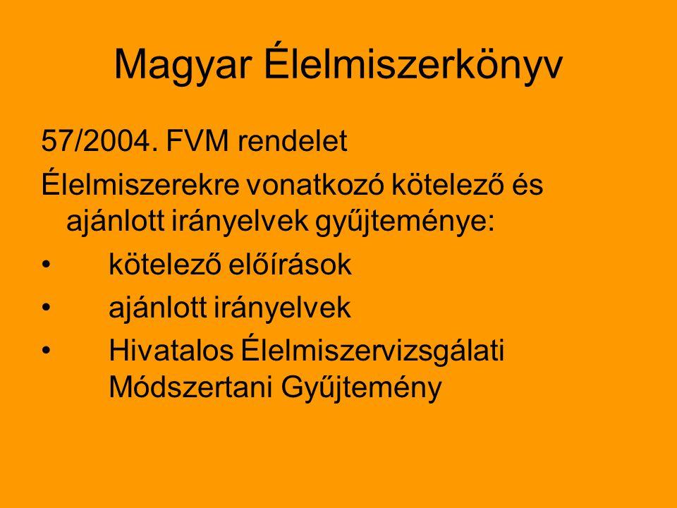 Magyar Élelmiszerkönyv 57/2004. FVM rendelet Élelmiszerekre vonatkozó kötelező és ajánlott irányelvek gyűjteménye: kötelező előírások ajánlott irányel