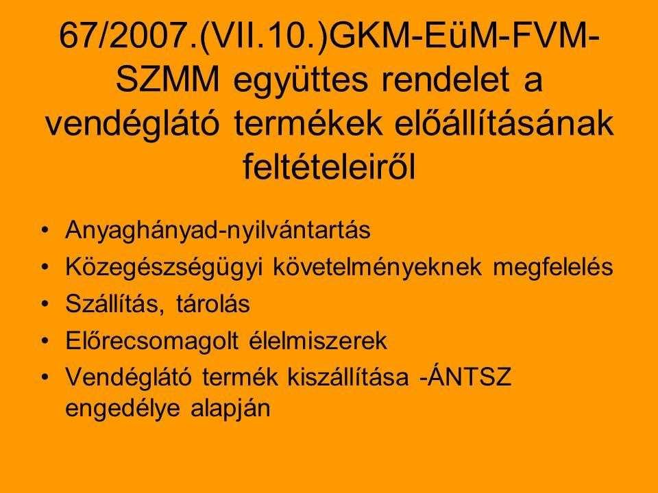 67/2007.(VII.10.)GKM-EüM-FVM- SZMM együttes rendelet a vendéglátó termékek előállításának feltételeiről Anyaghányad-nyilvántartás Közegészségügyi követelményeknek megfelelés Szállítás, tárolás Előrecsomagolt élelmiszerek Vendéglátó termék kiszállítása -ÁNTSZ engedélye alapján