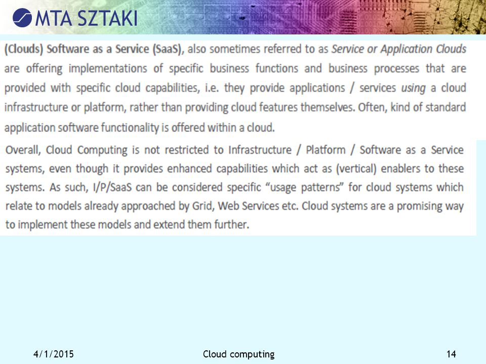 4/1/2015Cloud computing 14