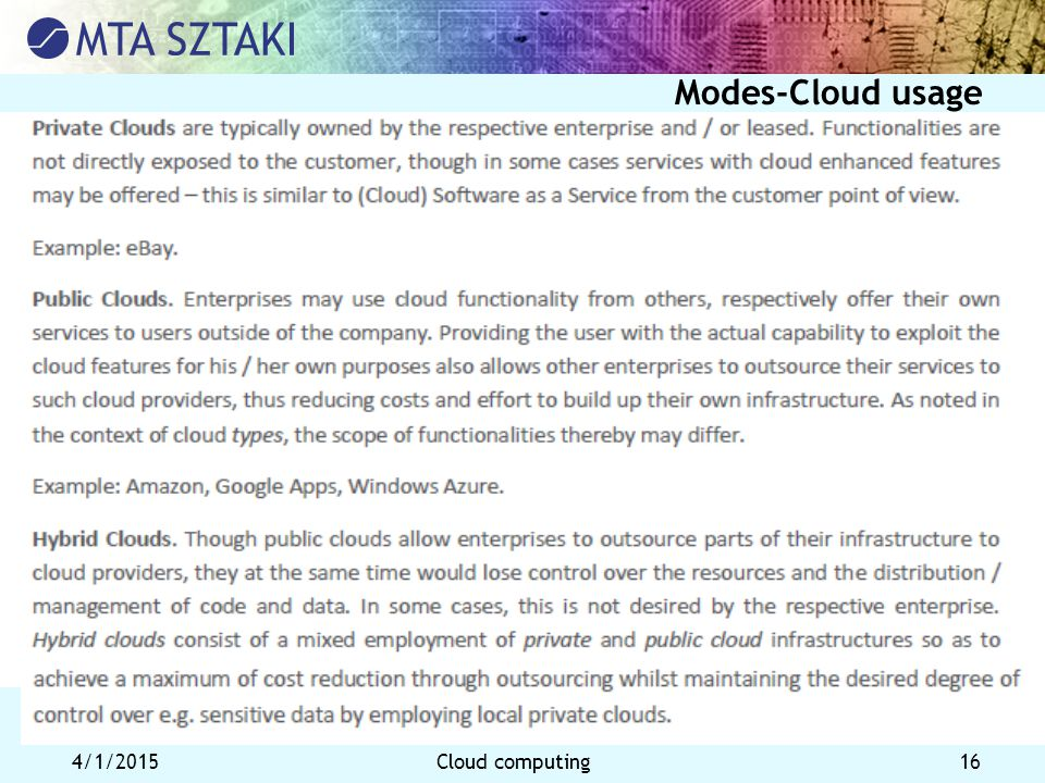 4/1/2015Cloud computing 16 Modes-Cloud usage
