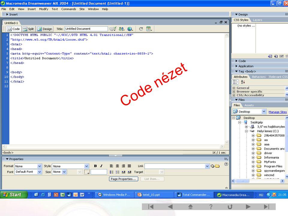 Code nézet