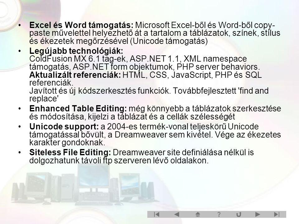 Excel és Word támogatás: Microsoft Excel-ből és Word-ből copy- paste művelettel helyezhető át a tartalom a táblázatok, színek, stílus és ékezetek megőrzésével (Unicode támogatás) Legújabb technológiák: ColdFusion MX 6.1 tag-ek, ASP.NET 1.1, XML namespace támogatás, ASP.NET form objektumok, PHP server behaviors.