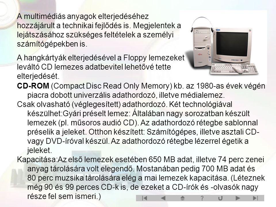 CD-ROM-olvasó Adattárolási elve: Mindenemű adat, amelyet CD-n rögzítenek, digitálisan lesz tárolva típusától függetlenül.