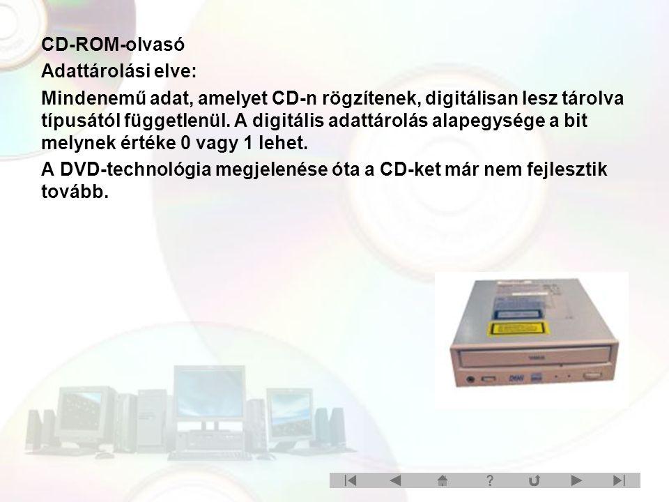 CD-ROM-olvasó Adattárolási elve: Mindenemű adat, amelyet CD-n rögzítenek, digitálisan lesz tárolva típusától függetlenül. A digitális adattárolás alap