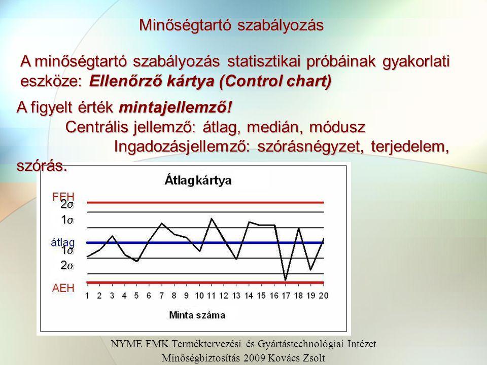 Minőségtartó szabályozás A minőségtartó szabályozás statisztikai próbáinak gyakorlati eszköze: Ellenőrző kártya (Control chart) A figyelt érték mintaj