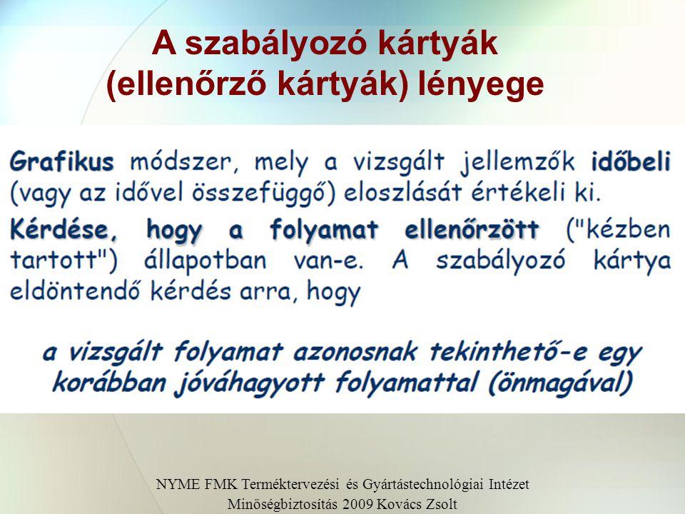 A szabályozó kártyák (ellenőrző kártyák) lényege NYME FMK Terméktervezési és Gyártástechnológiai Intézet Minőségbiztosítás 2009 Kovács Zsolt