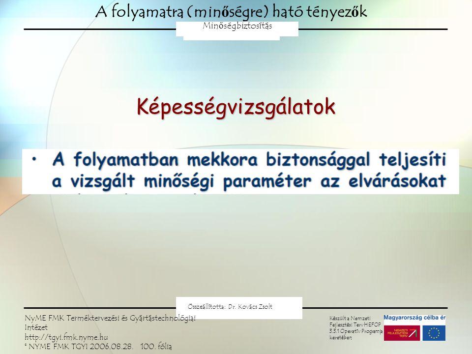 Minőségtartó szabályozás A centrális jelleg állandóságának próbája: u-próba Nullhipotézis: H 0 :  =  0 Ellenhipotézis: H0: ≠0H0: ≠0H0: ≠0H0: ≠0 Az elfogadási tartomány: A próbastatisztika: NYME FMK Terméktervezési és Gyártástechnológiai Intézet Minőségbiztosítás 2009 Kovács Zsolt