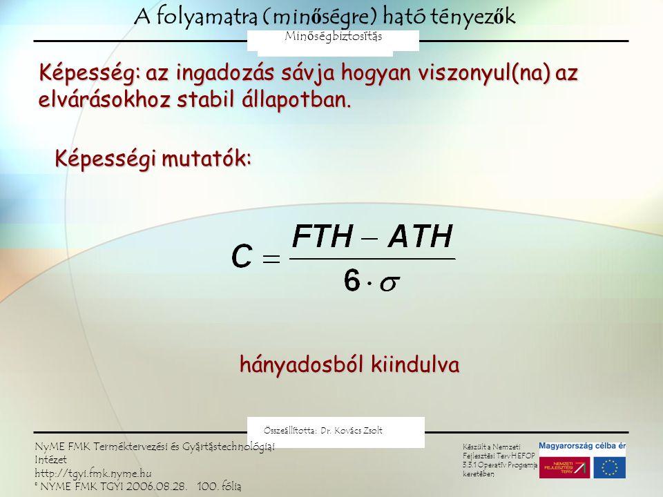 Minőségtartó szabályozás Az ingadozásjellemző állandóságának próbája: Nullhipotézis: Varianciára H 0 :  2 =  2 0 (F-próba) Szórásra H 0 :  =  0 Terjedelemre H 0 : R = R 0 NYME FMK Terméktervezési és Gyártástechnológiai Intézet Minőségbiztosítás 2009 Kovács Zsolt