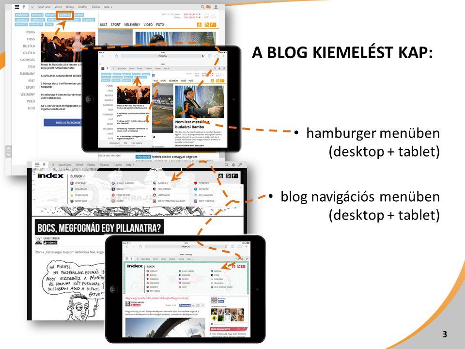 A BLOG KIEMELÉST KAP: 3 hamburger menüben (desktop + tablet) blog navigációs menüben (desktop + tablet)