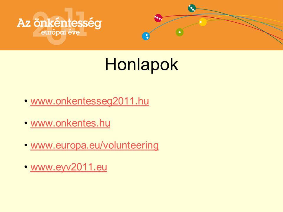 Honlapok www.onkentesseg2011.hu www.onkentes.hu www.europa.eu/volunteering www.eyv2011.eu