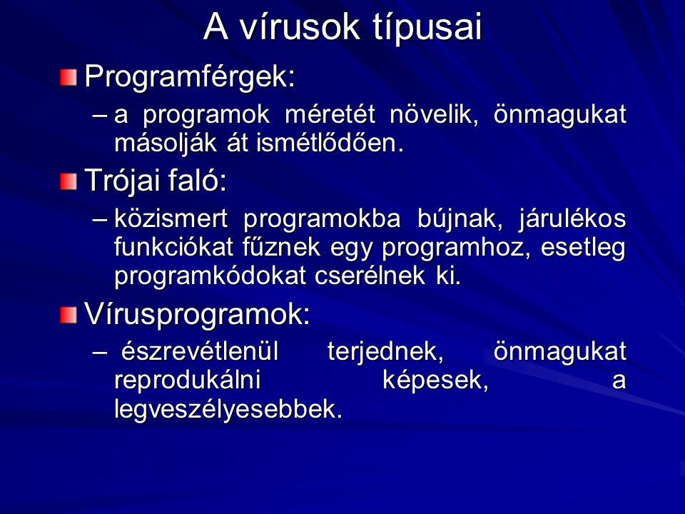 Programférgek: –a programok méretét növelik, önmagukat másolják át ismétlődően.