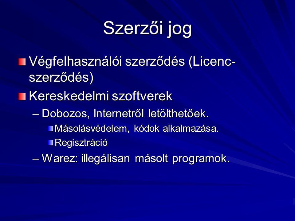 Szerzői jog Végfelhasználói szerződés (Licenc- szerződés) Kereskedelmi szoftverek –Dobozos, Internetről letölthetőek.