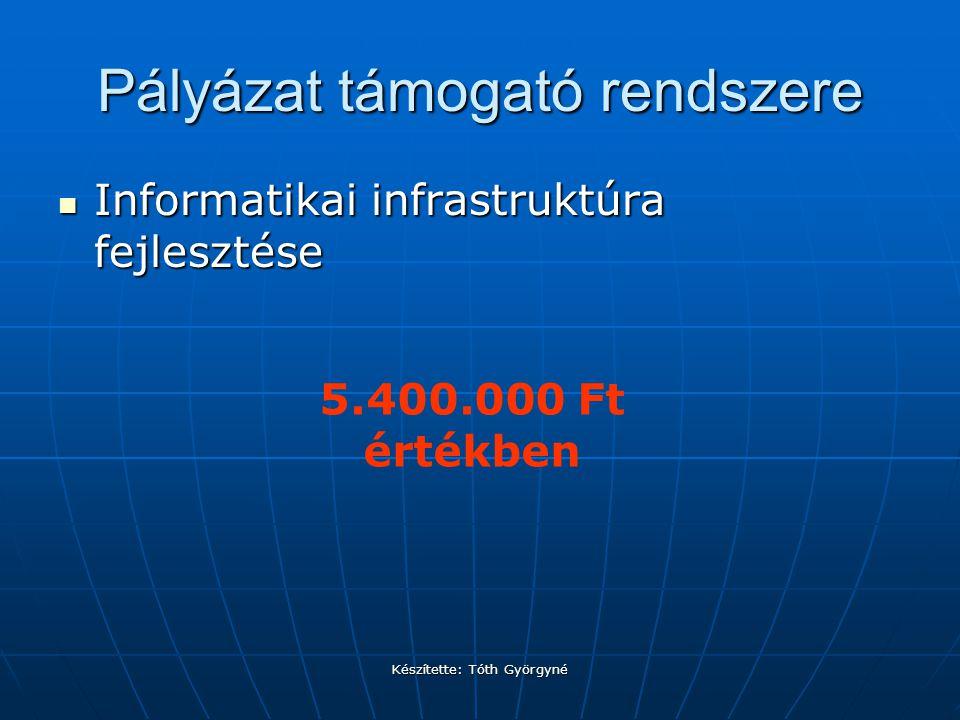 Készítette: Tóth Györgyné Pályázat támogató rendszere Informatikai infrastruktúra fejlesztése Informatikai infrastruktúra fejlesztése 5.400.000 Ft értékben