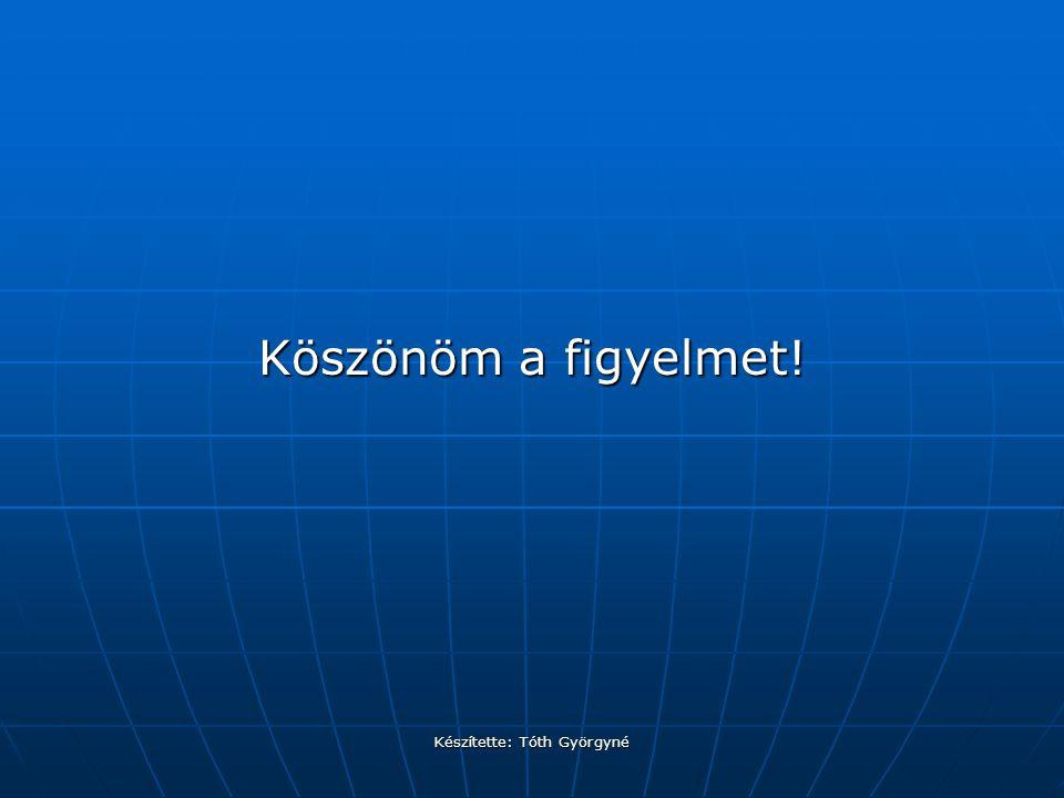 Készítette: Tóth Györgyné Köszönöm a figyelmet!